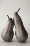 Two pears. Black and white concept photography of two pears against light background in studio environment Stock Photos