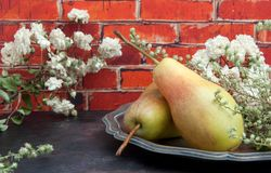 Two pears on brick wall background Stock Photos