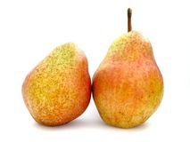 Two pears closeup. Two pears on white background Royalty Free Stock Images