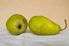 Two pears. Fresh pears on the table Stock Photos