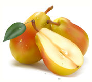 Two pears in half Stock Photography