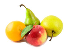 Two pears, lemon and red apple Royalty Free Stock Photo
