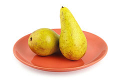 Two Pears on Plate Stock Images