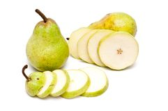 Two pears and slices of a pear Royalty Free Stock Photo