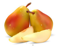 Two pears and slices Stock Images