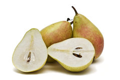 Two pears and two halves. Stock Photography