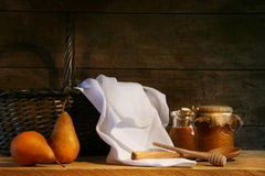 Two pears with white cloth stock photos