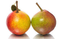 Two pears on white Royalty Free Stock Image