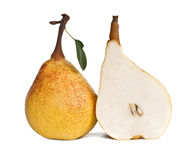 Two pears. Whole and sliced pears isolated on white background Stock Photography