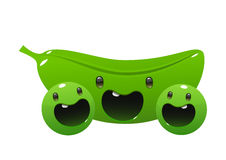 Two peas cartoon character bright juicy on a white background Royalty Free Stock Image