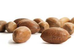 Two pecan nuts in front of many Royalty Free Stock Photo