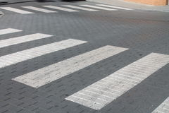 Two pedestrian crossings. Road with white stripes for pedestrians Royalty Free Stock Image
