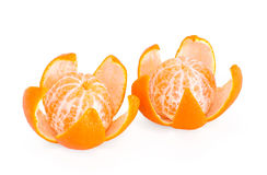 Two peeled mandarin orange Stock Photo