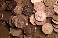 Two pence coins stock images
