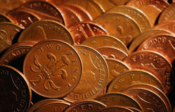 Two pence coins in amusement machine. Stock Photo