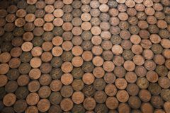 Two Pence Collage Floor. Abstract high angle view of a floor which has been made out of two pence coins stock photography