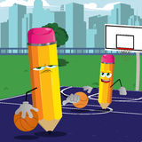 Two pencil playing basketball on a basketball field Royalty Free Stock Photography