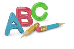 Two pencils and color ABC letters on white background 3d illustr. Ation royalty free illustration