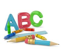 Two pencils and crayons and ruler and color ABC letters on white. Background 3d illustration royalty free illustration