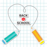 Two pencils drawing dash heart Paper sheet Royalty Free Stock Photos