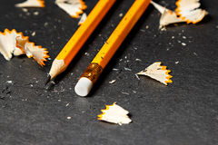 Two pencils with shavings. Stock Image