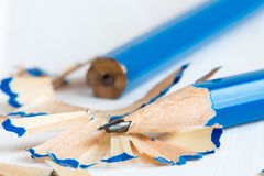 Two pencils and shavings Royalty Free Stock Image