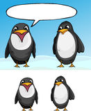 Two Penguins. A cartoon of one penguin talking and the other listening. Includes version without word cloud and background Royalty Free Stock Photo