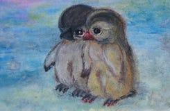 Two little penguins stock illustration