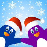 Two penguins on a blue background with snowflakes Royalty Free Stock Image