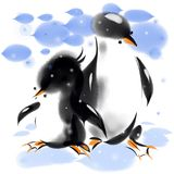 Two penguins in blue snow. And blue sky, raster image Stock Images