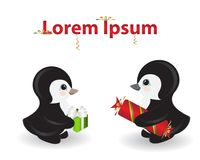 Two penguins giving gifts with love. The male and female royalty free illustration