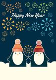 Two penguins happy new year. Greeting card Happy New Year. Vector retro styled illustration of two penguins in knit hats holding a sparkler. Colorful fireworks Stock Images