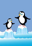 Two penguins. Tow cartoon penguins stuck on icebergs Royalty Free Stock Photo