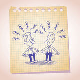 Two penniless businessman note paper cartoon sketch Royalty Free Stock Photos