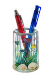 Two pens in container (like a aquarium) Royalty Free Stock Photography