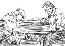 Two pensioners playing chess on the bench. Vector. royalty free illustration