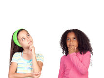 Two pensive little girl Stock Photography