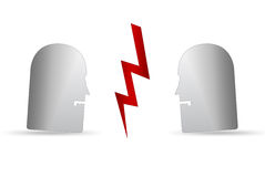 Two people arguing. Abstract illustration of two people arguing with lightning strike in middle of faces, isolated on white background Royalty Free Stock Images