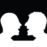 Two people arguing silhouette Stock Images