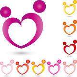 Two people as heart, people and couple logo Stock Photo