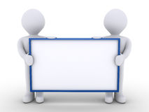 Two people as a team are holding a blank sign. Two 3d people as one team are holding a blank sign Stock Images