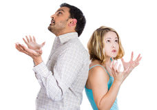 Two people back to back, angry at each other Royalty Free Stock Photography