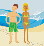 Two people on the beach. Girl and young man on the beach Royalty Free Stock Photos