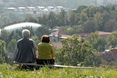Two people on bench. Two old people on bench Royalty Free Stock Photography