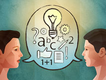 Two people brainstorming. And finding new ideas. Digital illustration Royalty Free Stock Image