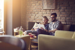 Two people in a cafe Stock Photo