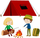 Two people camping out Royalty Free Stock Photo