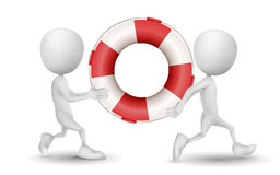 Two people carried a buoy. Over white Stock Photos