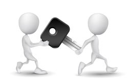 Two people carried a car key. Over white background Royalty Free Stock Images