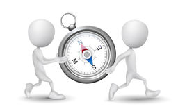 Two people carried a compass. Over white background Royalty Free Stock Image
